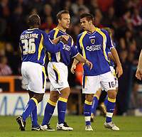 Photo: Paul Greenwood.<br />Sheffield United v Cardiff City. Coca Cola Championship. 02/10/2007.<br />Cardiff's Jimmy Floyd Hasselbaink, (L) and  Stephen McPhail celebrate