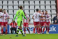 Stevenage Players Celebrate after Stevenage Forward, Matthew Godden (24) scores a goal to make it 1-0 during the EFL Sky Bet League 2 match between Stevenage and Forest Green Rovers at the Lamex Stadium, Stevenage, England on 21 October 2017. Photo by Adam Rivers.