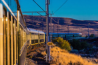 "Rovos Rail train  ""Pride of Africa"" crosses the Great Karoo Desert on it's journey between Pretoria and Cape Town, South Africa."