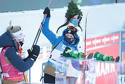 14.02.2021, Center Pokljuka, Pokljuka, SLO, IBU Weltmeisterschaften Biathlon, Sprint, Damen, im Bild chevalier bouchet (anais) (fra), echkoff (tiril) (nor) // during womens Sprint competition of IBU Biathlon World Championships at the Center Pokljuka in Pokljuka, Slovenia on 2021/02/14. EXPA Pictures © 2021, PhotoCredit: EXPA/ Pressesports/ Frederic Mons<br /> <br /> *****ATTENTION - for AUT, SLO, CRO, SRB, BIH, MAZ, POL only*****