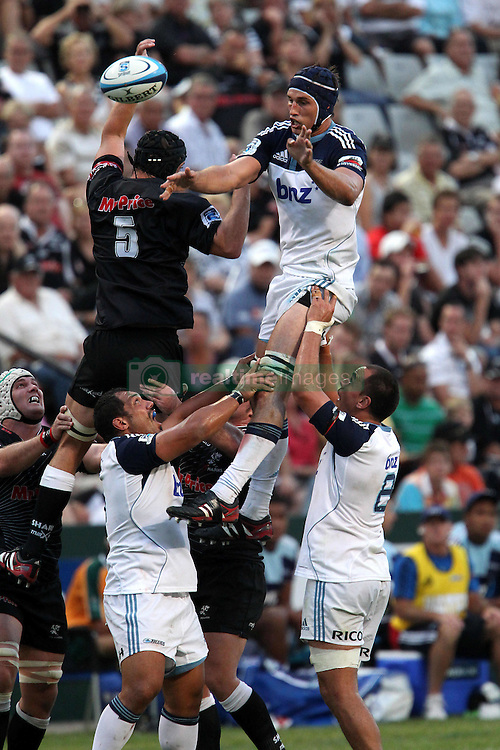 Anthony Boric of The Blues claims the lineout ball during the Super15 match between The Mr Price Sharks and The Blues held at Mr Price Kings Park Stadium in Durban on the 26th February 2011..Photo By:  Ron Gaunt/SPORTZPICS
