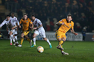Sean Rigg of Newport county scores his teams 2nd goal from a penalty.EFL Skybet football league two match, Newport county v Barnet at Rodney Parade in Newport, South Wales on Tuesday 25th October 2016.<br /> pic by Andrew Orchard, Andrew Orchard sports photography.