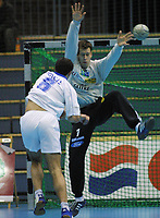 Håndball, europacup  herrer, 15. desember 2001. Drammen Håndballklubb - Doukas School 29-21. Lars Olav Olaussen, Drammen (DHK), målvakt, keeper.