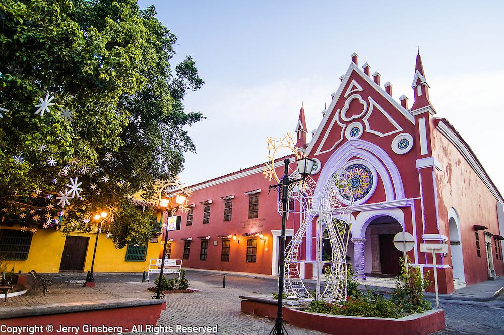 Charming neighborhood church in lovely Plaza San Diego, Old City, Cuidad Vieja, Cartagena, Colombia.