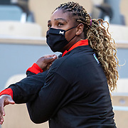 PARIS, FRANCE September 26.  Serena Williams of the United States warming up wearing a mask while training on Court Philippe-Chatrier in preparation for the 2020 French Open Tennis Tournament at Roland Garros on September 26th 2020 in Paris, France. (Photo by Tim Clayton/Corbis via Getty Images)