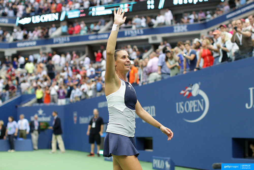 Flavia Pennetta, Italy, celebrates victory against Roberta Vinci Italy, in the Women's Singles Final match during the US Open Tennis Tournament, Flushing, New York, USA. 12th September 2015. Photo Tim Clayton