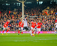 Stefan Johansen of Fulham about to take his penalty during the Sky Bet Championship match at Craven Cottage, London<br /> Picture by Richard Brooks/Focus Images Ltd 07947656233<br /> 02/01/2017