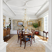 Formal Dining Room with stylish details and pillars