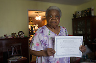Community activist Ariela Philip Scraig, 84, a life long resdient of Africatown, in Mobile Alabama, is fighting against tar sands developments. She helped Africantown get recognized as a National Register of Historic Places