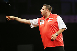 13.06.2015, Eissporthalle, Frankfurt, GER, Darts World Cup of Nations 2015, Frankfurt, im Bild Adrian Lewis (England) beim Wurf // during the Darts World Cup of Nations 2015 at the Eissporthalle in Frankfurt, Germany on 2015/06/13. EXPA Pictures © 2015, PhotoCredit: EXPA/ Eibner-Pressefoto/ Roskaritz<br /> <br /> *****ATTENTION - OUT of GER*****