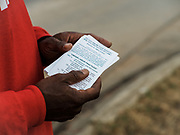 BESSEMER, AL – DECEMBER 13, 2020: Union member organizers from the Retail, Wholesale and Department Store Union (RWDSU) share literature and mobilize support on the road leading into the new BHM1 Amazon fulfillment center. CREDIT: Bob Miller for The New York Times
