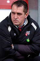 Photo: Daniel Hambury.<br />Brentford v Doncaster Rovers. Coca Cola League 1. 25/03/2006.<br />Brentford's manager Martin Allen is not happy after a home defeat.