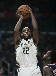November 10, 2018 - Los Angeles, California, U.S - Khris Middleton #22 of the Milwaukee Bucks takes a shot during their NBA game with the Los Angeles Clippers on Saturday November 10, 2018 at the Staples Center in Los Angeles, California. Clippers defeat Bucks in OT, 128-126. (Credit Image: © Prensa Internacional via ZUMA Wire)