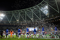 26 October 2016 - EFL Cup - 4th Round - West Ham v Chelsea - Bubbles fill the air as the players come out onto the pitch - Photo: Marc Atkins / Offside.