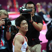 Hak Seon Yang, Korea, winning the Gold Medal  in the Gymnastics Artistic, Men's Apparatus, Vault Final at the London 2012 Olympic games. London, UK. 6th August 2012. Photo Tim Clayton