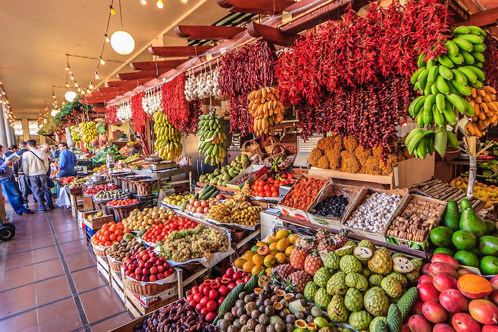 Market hall in Funchal, Madeira. Especially Madeira banana is popular snack.