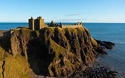 Vew of Dunottar Castle in Aberdeenshire, Scotland, UK