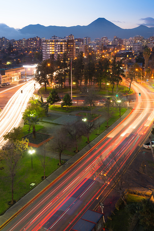 Traffic light trails in a residential neighborhood at Las Condes district, Santiago de Chile