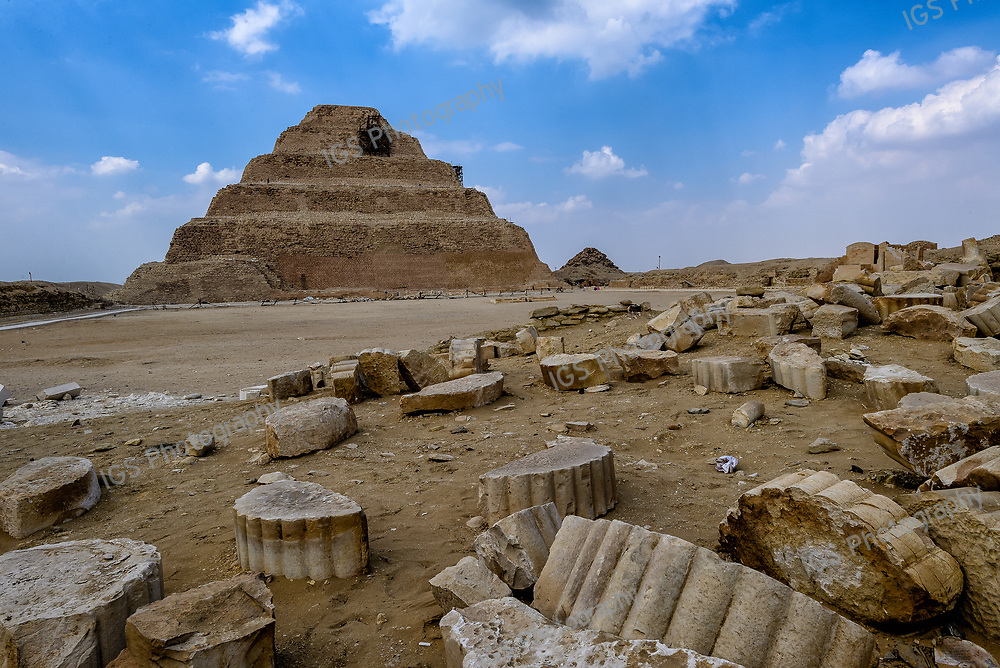 Fragments of columns at the temple complex of the step pyramid of King Djose in Saqqara