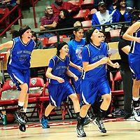 031413  Adron Gardner/Independent<br /> <br /> The Navajo Pine Warriors leap from the bench at the moment of victory to claim the 2A state title over the Laguna Acoma Hawks at The Pit in Albuquerque Friday.