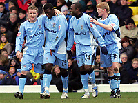 Photo:  Frances Leader.<br /> Watford v Coventry City. Coca Cola Championship. <br /> Vicarage Road Stadium<br /> 05/03/2005<br /> Coventry's Trevor Benjamin celebrates the first goal with his team mates