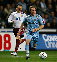 Photo: Steve Bond.<br /> Coventry City v West Ham United. Carling Cup. 30/10/2007. Jay Tabb heads for goal