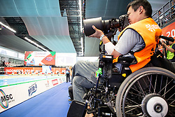 October 11, 2018 - Jakarta, Jakarta, Indonesia - Jakarta, Indonesia, 11 October 2018 : Photojournalist GENKI YAMASHITA from Paraphoto-Japan covering the paraswimming competition.  Paraswim compettition at Aquatic Building in Gelora Bung Karno Jakarta on Asian Paragames 2018 Competition. (Credit Image: © Donal Husni/ZUMA Wire)