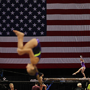 Gymnasts in action during a final training session before the start of The 2013 P&G Gymnastics Championships, USA Gymnastics' national championships which runs from Thursday until Sunday at the XL, Centre, Hartford, Connecticut.<br /> The event features gymnasts in both the junior and senior divisions. Performances will determine all-around and individual event national champions, as well as the national team for the junior and senior elite levels. Hartford, Connecticut, USA. 14th August 2013. Photo Tim Clayton