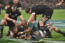 September 16, 2017 - Auckland, New Zealand - Ofa Tuungafasi of All Blacks scores a try during the Rugby Championship test match between the New Zealand All Blacks and the South Africa Springboks at QBE stadium in Auckland on Sep 16, 2017. All Blacks beats Springboks 57-0. (Credit Image: © Shirley Kwok/Pacific Press via ZUMA Wire)