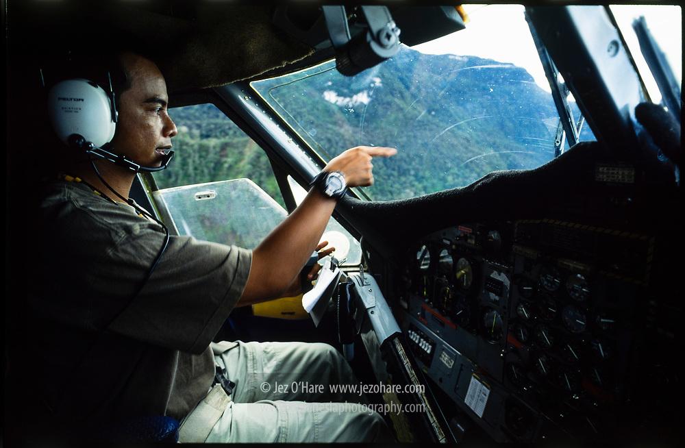 Captain Pinky J. Firmansyah flying a De Havilland Twin Otter in Papua, Indonesia.
