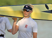 Banyoles, SPAIN, GBR W2-, Monica RELPH, carrying the pair FISA World Cup Rd 1. Lake Banyoles  Saturday,  30/05/2009   [Mandatory Credit. Peter Spurrier/Intersport Images]