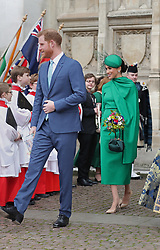 The Duke and Duchess of Sussex leaving after the Commonwealth Service at Westminster Abbey, London on Commonwealth Day. The service is the Duke and Duchess of Sussex's final official engagement before they quit royal life.