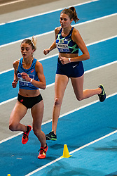 Diane van Es, Maureen Koster in action on the 3000 meter during AA Drink Dutch Athletics Championship Indoor on 21 February 2021 in Apeldoorn.