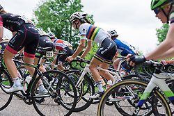 World Champion, Lizzie Armitstead comfortable on the climbs in the front group at Boels Hills Classic 2016. A 131km road race from Sittard to Berg en Terblijt, Netherlands on 27th May 2016.