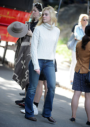 Elle Fanning on the set of Woody Allen's special project in New York City, NY, USA, September 26, 2017. Photo by Dennis Van Tine/ABACAPRESS.COM