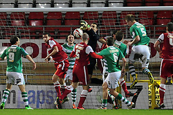 Yeovil Town Marek Stech spills the ball from a cross - Photo mandatory by-line: Dougie Allward/JMP - Tel: Mobile: 07966 386802 09/01/2013 - SPORT - FOOTBALL - Matchroom Stadium - London -  Leyton Orient v Yeovil Town - Johnstone's Paint Trophy Southern area semi-final.
