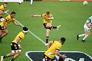 Hurricanes Jordie Barrett kicks off in the Super Rugby match, Hurricanes v Crusaders, Sky Stadium, Wellington, Sunday, April 11, 2021. Copyright photo: Kerry Marshall / www.photosport.nz