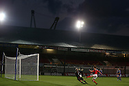 Angharad James of Wales attempts to put the ball past Merav Shamir , the Israel goalkeeper. UEFA Womens Euro qualifying match, Wales Women v Israel Women at Rodney Parade in Newport, South Wales on Thursday 15th September 2016.<br /> pic by Andrew Orchard, Andrew Orchard sports photography.