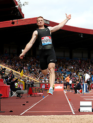 Great Britain's Greg Rutherford competes in the Men's Long Jump during the Muller Grand Prix at Alexander Stadium, Birmingham.