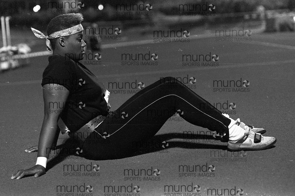 (Montreal, Canada --- 25 July 1991) Georgette Reed at the shot put at the 1991 Canadian National Track and Field Championships held at the Complexe sportif Claude-Robillard in Montreal. Photo 1991 Copyright Sean Burges / Mundo Sport Images. ******This is an unprocessed scan from the negative. You can buy it as is and clean it up yourself, or contact us for rates on providing the service for you. *******