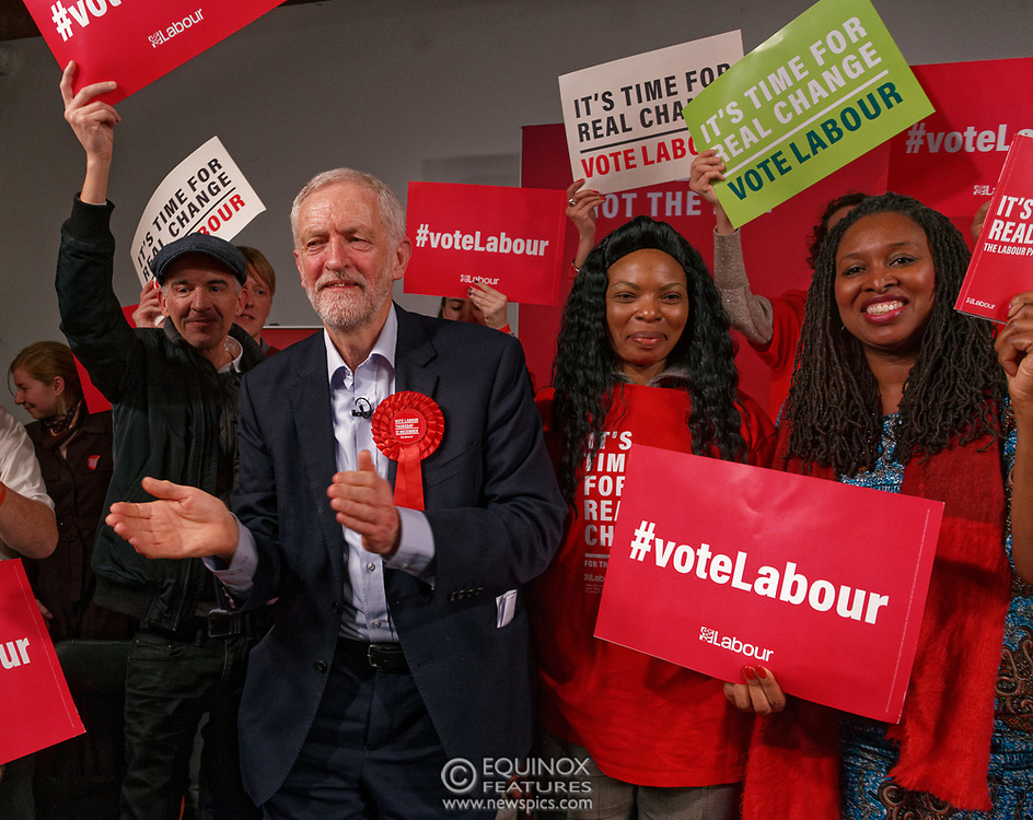 London, United Kingdom - 11 December 2019<br /> Labour Party leader Jeremy Corbyn speaking at their final campaign rally before the General Election 2019 at Hoxton Docks, London, England, UK.<br /> (photo by: EQUINOXFEATURES.COM)<br /> Picture Data:<br /> Photographer: Equinox Features<br /> Copyright: ©2019 Equinox Licensing Ltd. +443700 780000<br /> Contact: Equinox Features<br /> Date Taken: 20191211<br /> Time Taken: 21565499<br /> www.newspics.com