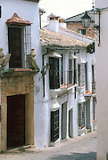 SPAIN, ANDALUSIA RONDA; beautiful 'pueblo blanco' and resort south of Seville; traditional homes in the old city