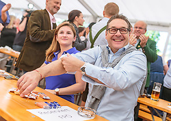 21.04.2018, Kuglhof, Salzburg, AUT, Landtagswahl in Salzburg 2018, FPOe Wahlkampfschlussveranstaltung, im Bild v.l.: Marlene Svazek (FPOe), Vizekanzler Heinz- Christian Strache (FPOe) // f.l.: Marlene Svazek (FPOe), Austrian Vice Chancellor Heinz- Christian Strache during a campaign event of the FPOe Party for the State election in Salzburg 2018. Kuglhof in Salzburg, Austria on 2018/04/21. EXPA Pictures © 2018, PhotoCredit: EXPA/ JFK