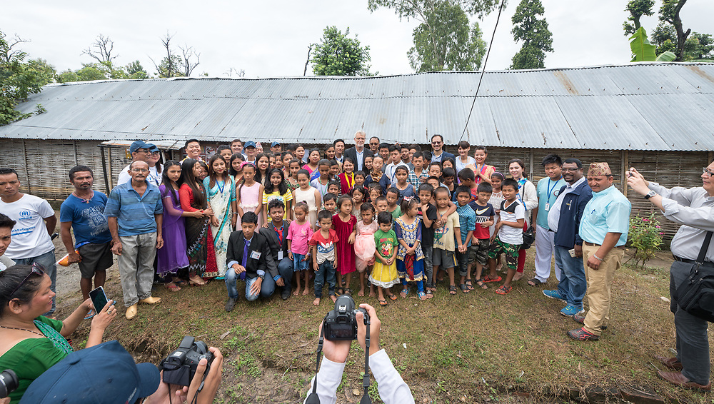 14 September 2018, Damak, Nepal: Members of the Bhutanese Refugee Children Forum meet Rev. Dr Martin Junge, general secretary of the Lutheran World Federation, in the Beldangi refugee camp in the Jhapa district of Nepal, which hosts more than 5,000 Bhutanese refugees. On 12-19 September 2018, the Lutheran World Federation General Secretary Rev. Dr Martin Junge visits Nepal. He will participate in the 75th anniversary celebrations of the Nepal Evangelical Lutheran Church, an LWF member church, and visit development projects run by the church. He will also visit the LWF country program, which is involved in humanitarian relief and development work in a range of areas, supporting refugees, offering relief work to those most affected by the 2015 earthquake, flood victims, among other projects.