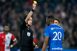 (L-R) referee Dennis Higler, Kingsley Ehizibue of PEC Zwolle during the Dutch Eredivisie match between Feyenoord Rotterdam and PEC Zwolle at the Kuip on October 14, 2017 in Rotterdam, The Netherlands