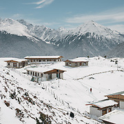 Views over the Laya village councel houses after a snow storm.