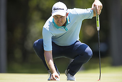 May 25, 2018 - Fort Worth, TX, USA - FORT WORTH, TX - MAY 25, 2018 - Justin Rose lines up his putt on the 8th hole during the second round of the 2018 Fort Worth Invitational PGA at Colonial Country Club in Fort Worth, Texas (Credit Image: © Erich Schlegel via ZUMA Wire)