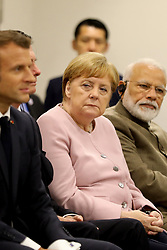 """Emmanuel Macron (French President), Angela Merkel (German Chancellor) and Narendra Modi (India's Prime Minister) - Side event organized by the Japanese Prime Minister, on the theme """"Promoting the place of women at work"""" at the Intex Osaka congress center at the G20 summit in Osaka, Japan, on June 29, 2019. Photo by Dominque Jacovides/Pool/ABACAPRESS.COM"""