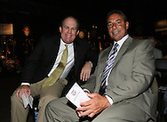 28 August 2006: Bill McDermott (l), who presented Al Trost (not pictured) and Tony DiCicco (r) who presented Carla Overbeck (not pictured). The National Soccer Hall of Fame Induction Ceremony was held at the National Soccer Hall of Fame in Oneonta, New York.