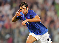 """Luca Toni (Italy) celebrate after the goal<br /> Qualify of European Football 2008 <br /> 07 October 2006<br /> Italy-Ucraine 2-0<br /> """"Olympic"""" Stadium-Rome-Italy<br /> Photographer Luca Pagliaricci INSIDE"""